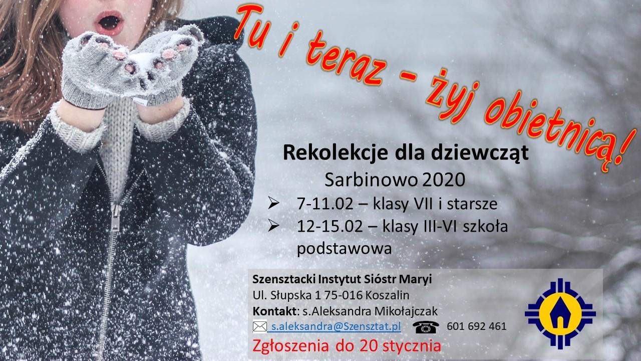 Zaproszenie na rekolekcje dla dziewcząt do Sarbinowa